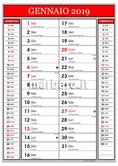 Calendario Con Festivita 2019.Calendario 2019 Con I Santi Le Lune E I Numeri Di Settimana
