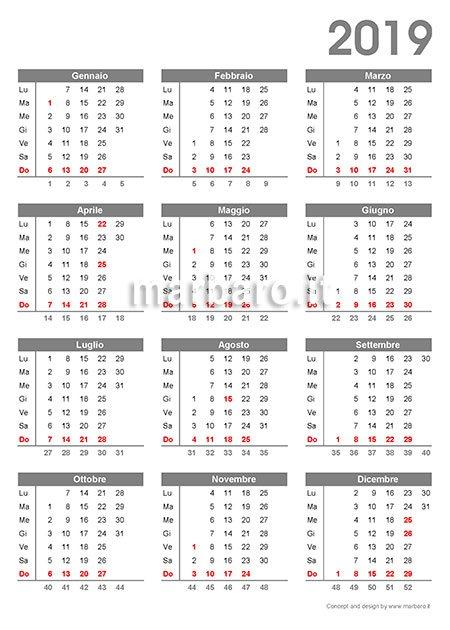 Pagina Calendario Agosto 2019.Calendario 2019 Da Stampare 9 Pdf Da Scaricare Gratis