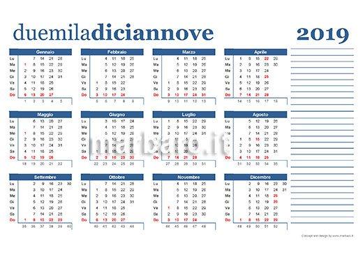 Modelli Calendario 2019.Calendario 2019 Da Stampare 9 Pdf Da Scaricare Gratis