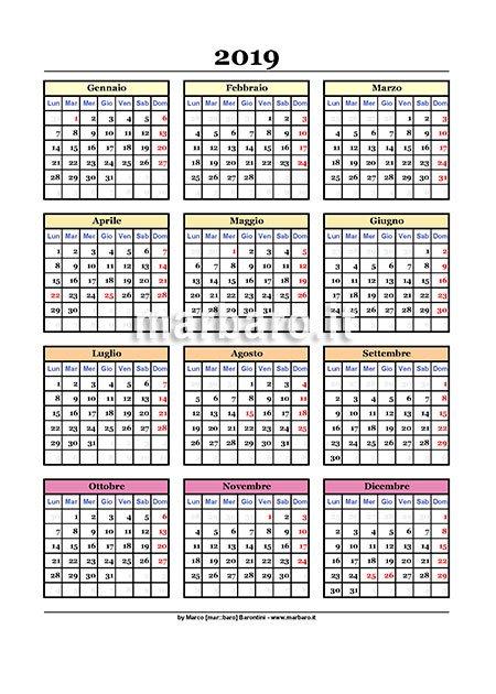 Calendario Da Scaricare.Calendario 2019 Da Stampare 9 Pdf Da Scaricare Gratis