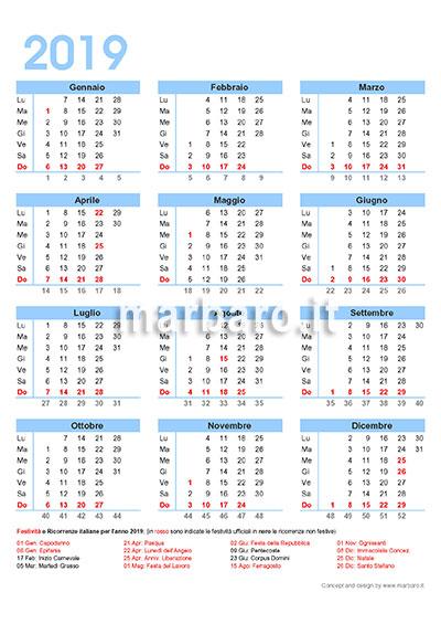Calendario Con Festivita 2019.Calendario 2019 Italiano Con Le Festivita Giorni Festivi In
