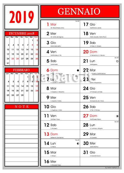 calendario 2019 con santi da