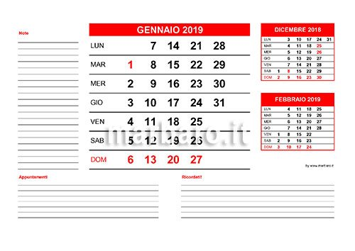 Calendario Appunti 2019.Calendario 2019 Mensile Da Stampare Scarica Gratis Il Pdf