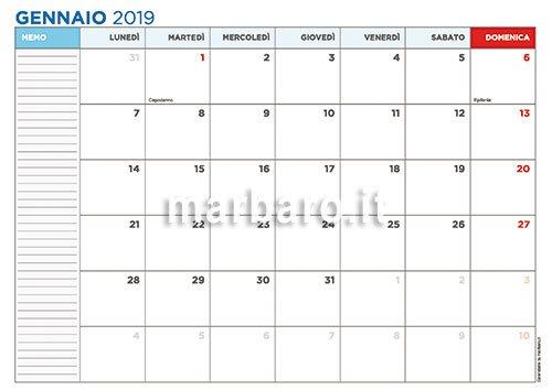 Calendario Per Appunti.Calendario 2019 Mensile Da Stampare Scarica Gratis Il Pdf