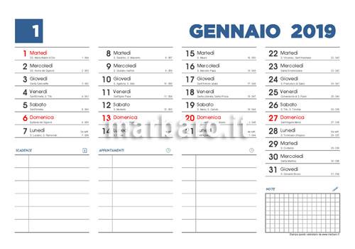 Calendario Solo Numeri.Calendario 2019 Con I Santi Le Lune E I Numeri Di Settimana