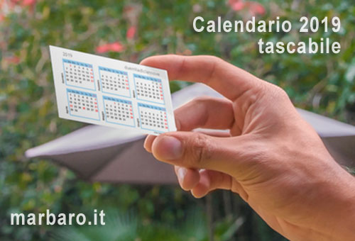 Calendario 2019 tascabile da stampare