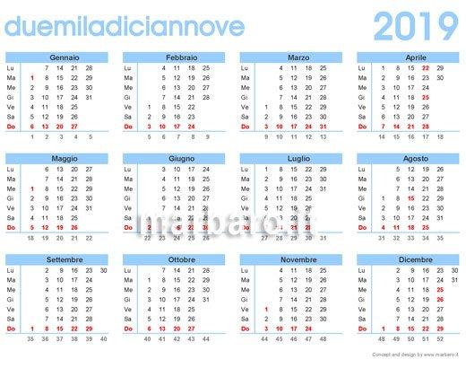 Calendario Solo Numeri.Calendario 2019 Da Stampare 9 Pdf Da Scaricare Gratis