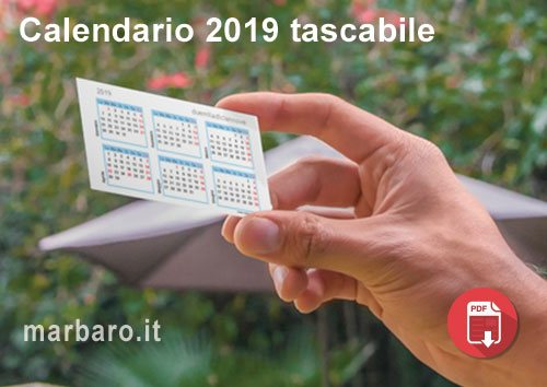 Calendario compatto 2019 tascabile