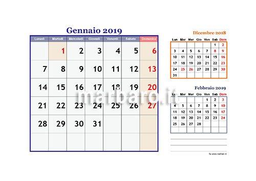 Calendario Mensile Da Stampare.Calendario 2019 Mensile Da Stampare Scarica Gratis Il Pdf