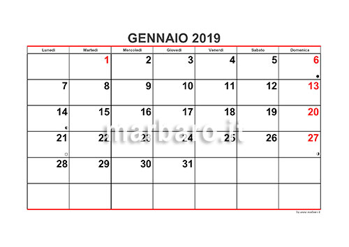 Calendario Mese Dicembre 2019.Calendario 2019 Mensile Da Stampare Scarica Gratis Il Pdf