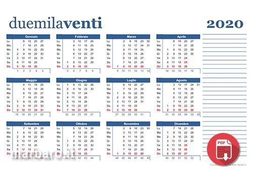 Calendario 2020 Settimanale Da Stampare.Calendari 2020 In Pdf Da Stampare Con Le Festivita Italiane