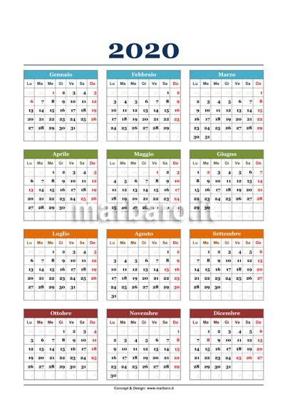 Un semplice calendario annuale 2020 da stampare