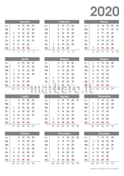 Calendario 2020 Mensile Da Stampare Gratis.Calendario 2020 Da Stampare 10 Calendari Da Scaricare
