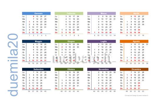 Calendario 2020 Con Numero Settimane.Calendario 2020 Da Stampare 10 Calendari Da Scaricare