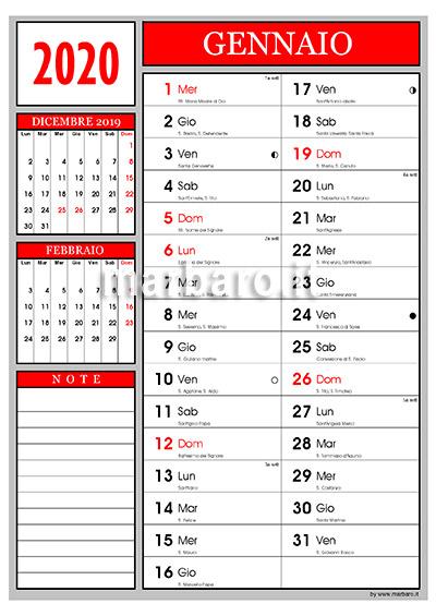Calendario Aprile 2020 Con Santi.Calendario 2020 Con I Santi Del Giorno E Le Lune Da Stampare