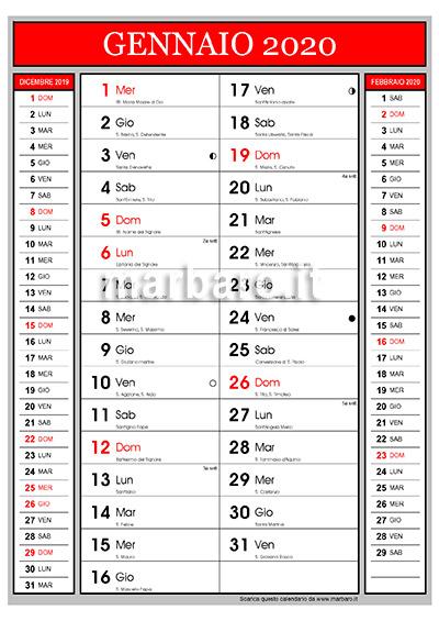 Calendario 2020 Pdf Stampabile.Calendario 2020 Con I Santi Del Giorno E Le Lune Da Stampare