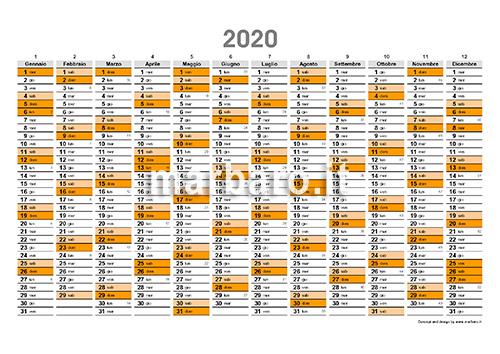 Calendario 2020 Con Numero Settimane.Calendario 2020 Con Settimane E Numero Giorni In Pdf