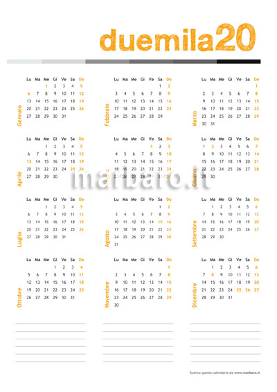 Calendario 2020 Vettoriale Gratis.Calendario 2020 Da Stampare 10 Calendari Da Scaricare