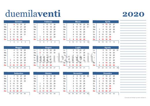 Settimane Calendario 2020.Calendario 2020 Da Stampare 10 Calendari Da Scaricare