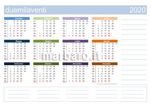 Calendario 2020 Da Stampare Semestrale.Calendario 2020 Da Stampare 10 Calendari Da Scaricare