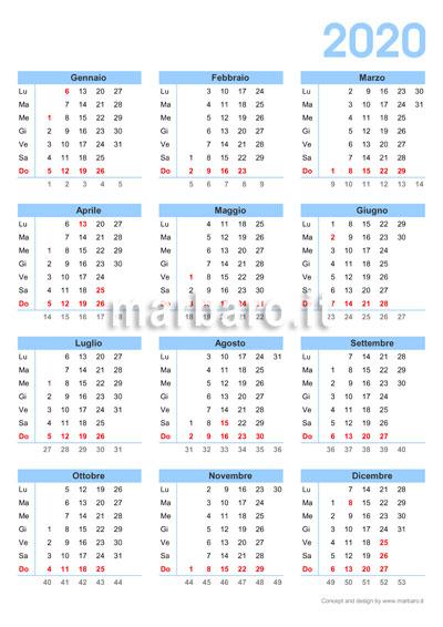 Calendario Italiano 2020 Con Festivita.Calendario 2020 Da Stampare 10 Calendari Da Scaricare