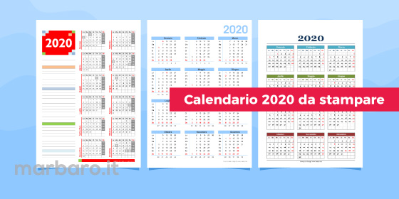 Calendario 2020 da stampare