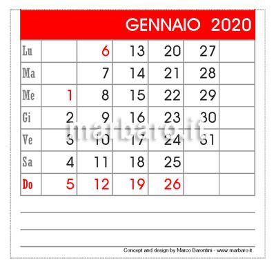 Calendario 2020 da tavolo 12 mesi da stampare