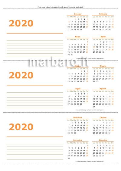 Calendario annuale 2020 per l'ufficio