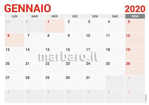 Calendario Gennaio 2020 Da Stampare.Calendario 2020 Mensile Da Stampare Scarica Gratis Il Pdf