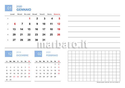 Marbaro Calendario 2020.Calendario 2020 Mensile Da Stampare Scarica Gratis Il Pdf