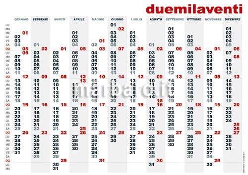 Calendario planner 2020 annuale da stampare