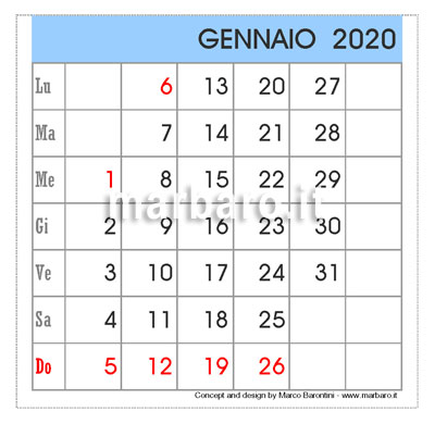 Calendario da tavolo 2020 in PDF