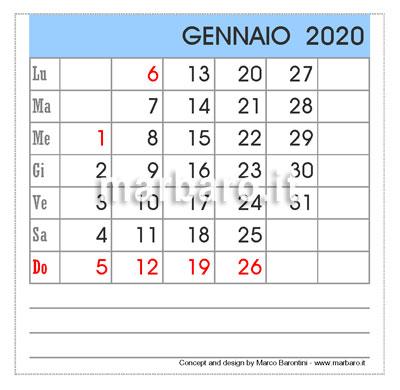 Calendario da tavolo 2020 mensile da stampare