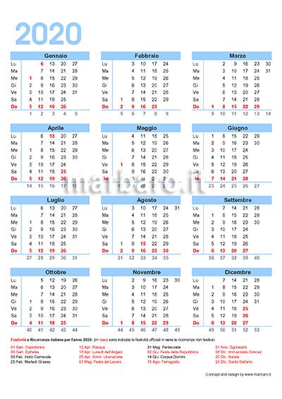 Calendario Fiscale 2020.Calendario Italiano 2020 Con Le Festivita Dell Italia