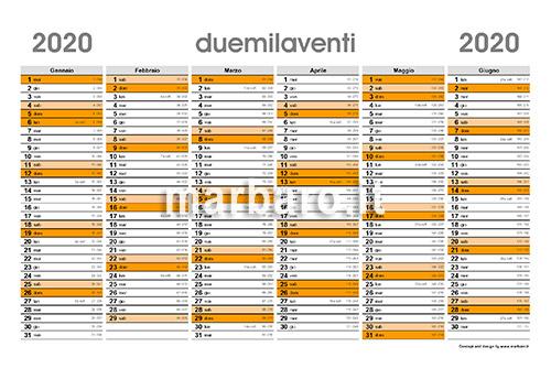 Planner 2020 stampabile con numeri di settimana