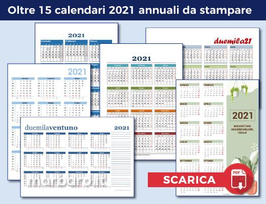Calendari 2021 in PDF da stampare con le festività italiane