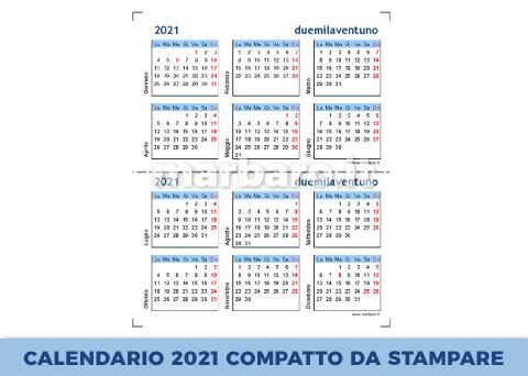 Calendario annuale 2021 compatto da stampare