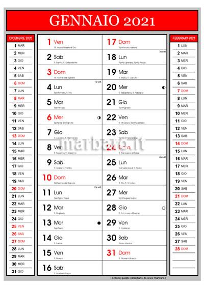 Calendario 2021 con i santi del giorno e le lune da stampare