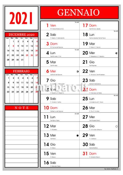 Calendario 2021 con i santi e le lune