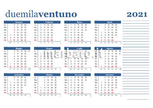 Calendario 2021 da stampare con le festività da scaricare in PDF