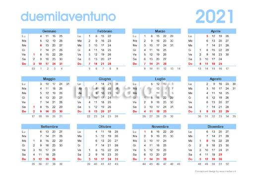 Calendario 2021 con settimane e numero giorni in PDF
