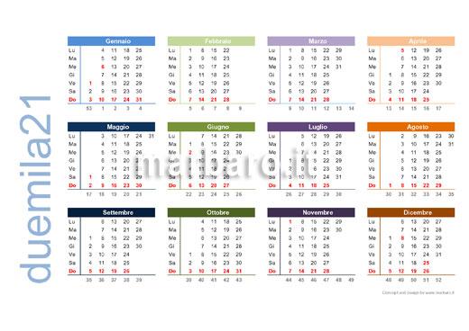 Calendario 2021 con festività italiane