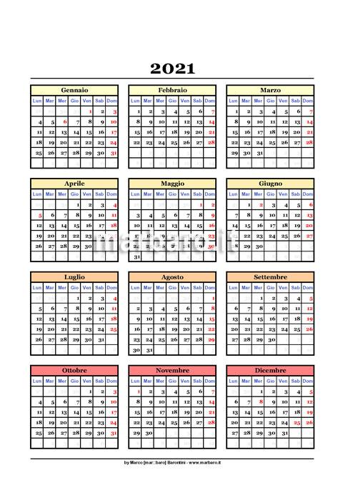 Come Creare Un Calendario 2021 Calendario annuale 2021 da scaricare e stampare