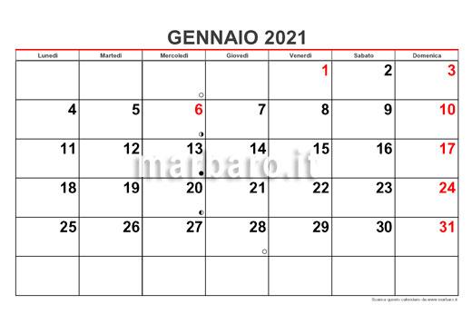 Calendario 2021 mensile in PDF da stampare: scaricalo adesso