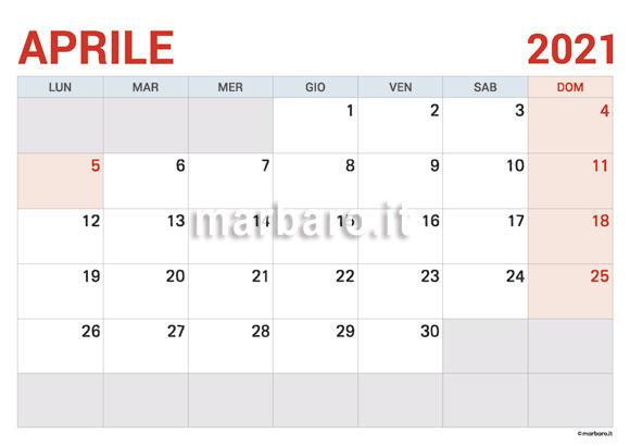 Calendario Aprile 2021 da stampare