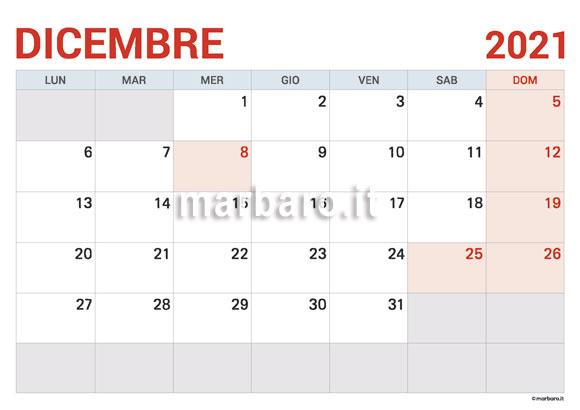 Calendario Novembre E Dicembre 2021 Da Stampare Calendario Dicembre 2021 in PDF da scaricare e stampare