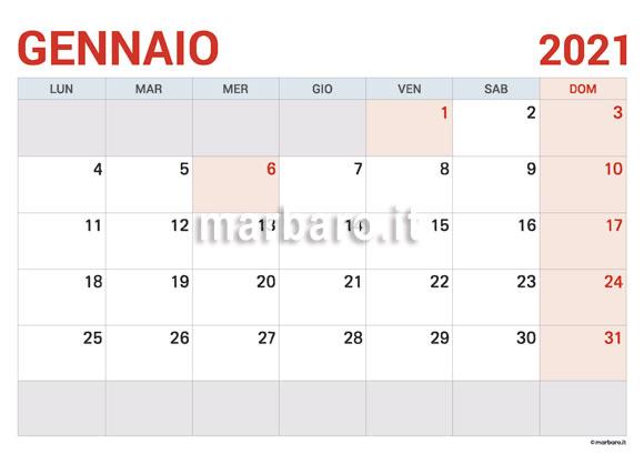 Calendario Gennaio 2021 in PDF da scaricare e stampare
