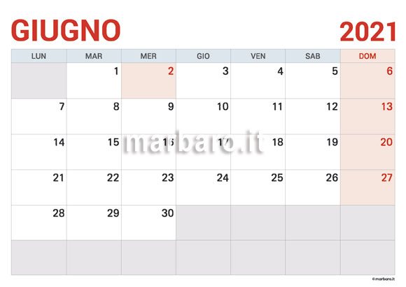 Calendario Giugno Da Stampare 2021 Calendario Giugno 2021 in PDF da scaricare e stampare