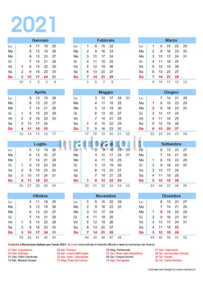 Calendario italiano 2021 con le festività dell'Italia