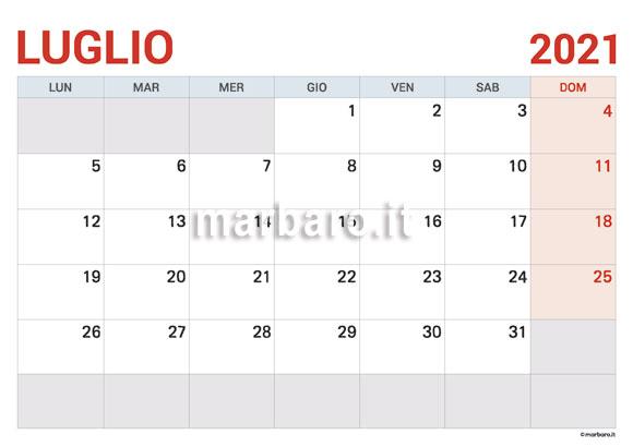 Calendario 2021 Mese Di Luglio Calendario del mese di Luglio 2021 in PDF